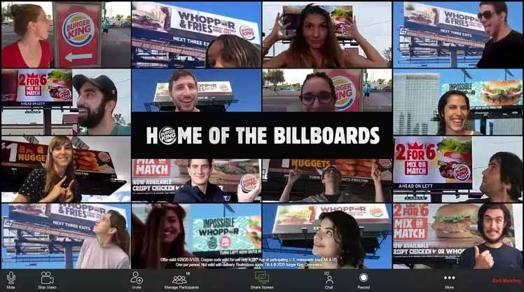 Burger King offers free Whoppers as their Home of the Billboards Campaign